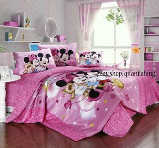 STUNNING DISNEY MINNIE MOUSE QUEEN 9PC PINK COMFORTER IN A BAG ~Free