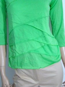 New Dunia Limelsoft Tissue T Shirt Blouse Top Ruffle M