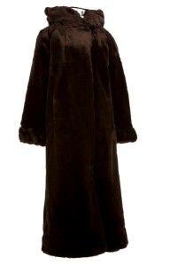 New Womens Donnybrook Long Brown Faux Fur Coat Jacket Brown Medium