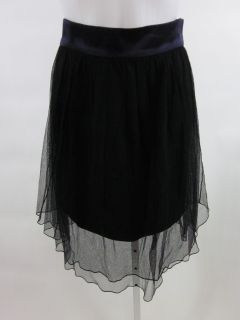 Doo RI Black Purple Silk Tulle Pleated Short Skirt Sz 4