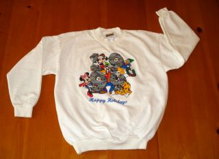 Disney World White 1999 Mickey Pluto Goofy Donald Holiday Sweatshirt L