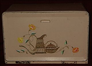 Vntg 1960s 70s Pink Tin Kitchen Bread Box Cutting Board