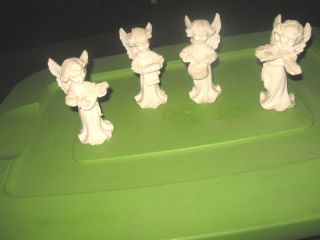 Four White Resin Musical Angels Made in Italy