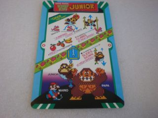 VINTAGE ORIGINAL NINTENDO DONKEY KONG JR ARCADE VIDEO GAME INSRUCTIONS