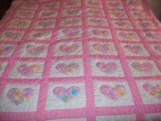 Handmade Heart Quilt Pink Butterflies REVERSABLE to pink stripe