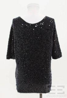 Donna Karan Navy Blue Cashmere & Silk Sequin Cardigan Size M