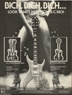 RICH 12 6 BICH DOUBLE NECK 8 4 STRING BICH BASS GUITAR PRINT AD