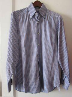 Massimo Dutti Cotton Dress Shirt Size Small Petite Fitted Brown Blue