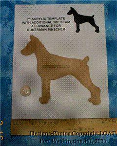 Laser Quilt Acrylic Template 7 Doberman Pinscher Dog C