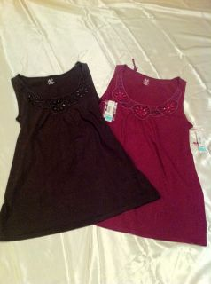 Duo Maternity Brown or Cranberry Beaded Maternity Tank Top Sizes s M L