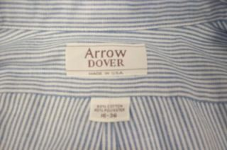 AO Mens Arrow Dover Dress Shirt Blue White Striped Size 16 36 Great