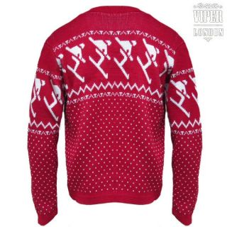 Red 45rpm Mens Crew Neck Alpine Ski Skier Nordic Jumper Sweater XS