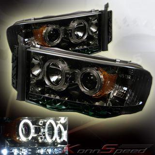 02 05 DODGE RAM 1500 2500 3500 LED PROJECTOR HEADLIGHTS SMOKE