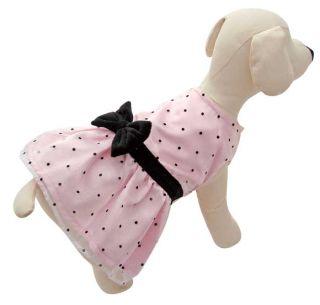 Pink Satin Dress w Blk Polka Dots Dog Apparel Clothes