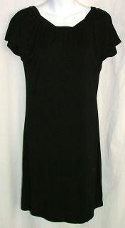 Banana Republic Black Dress Womens Small s Stretch Scoop Twist Neck