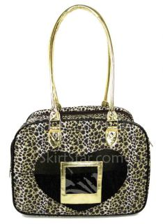 Dog Carrier Pet Cat Travel Puppy Bag Purse Cheetah Gold Animal Carry