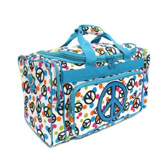 Blue Peace Sign Duffel Bag Luggage Carryon Travel Tote Dance Gym Bag