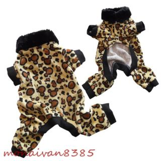 Leopard/ Tiger Faux Fur Dog Pajamas Jumpsuits Dog Clothes ALL SIZE