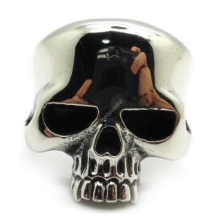 316L Stainless Steel Men's Silver Glossy Skull Ring