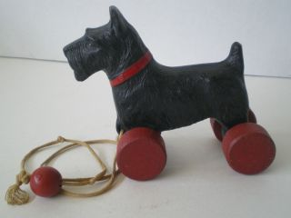 Antique Composition Scottie Dog Pull Toy