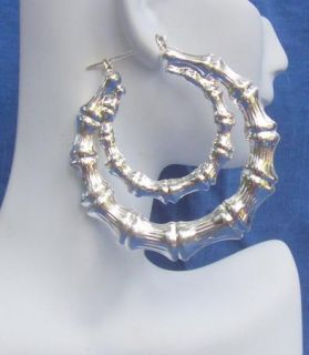 Double Silver Bamboo Hoop Earrings Large A