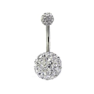 Double Gem Multi Swarovski Crystals Navel Belly Button Ring w/ Free