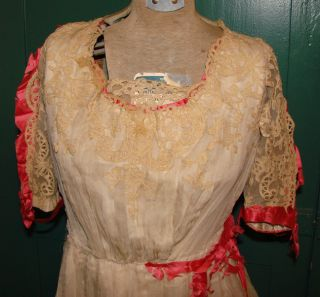 Jacques Doucet French Couture Edwardian Titanic Era Lace Dress