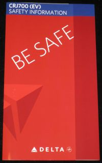 DELTA AIRLINES / PINNACLE CRJ900 (9E) SAFETY INFORMATION CARD