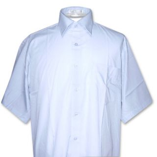 Mens Short Sleeve Powder Blue Dress Shirt Sz Large New