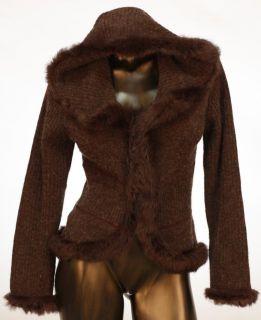 Dolce Cabo Sweater with Rabbit Fur Trim Sz Medium
