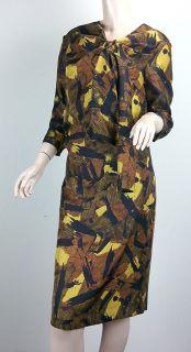 DRIES VAN NOTEN Brown Yellow Black Print Silk Gathered Neck Dress sz