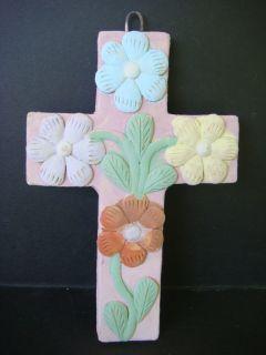 Dolores Porras Mexican Folk Art Flower Relief Cross
