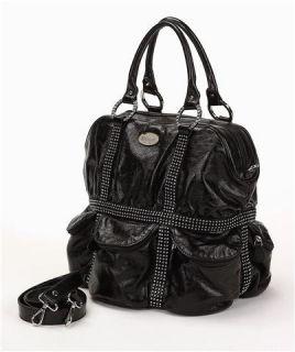 DX Touch Miami Swarovski Hobo Black Leather Large Bling