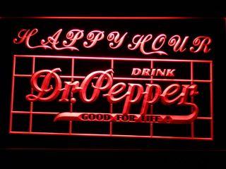 652 R Dr Pepper Drink Happy Hour Bar Neon Light Sign