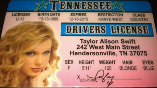 Taylor Swift Drivers License ID Card Fearless Speak Now Red Love Story
