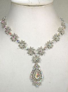 CLEAR AB RHINESTONE CRYSTAL NECKLACE & EARRINGS SET FOR BRIDAL WEDDING