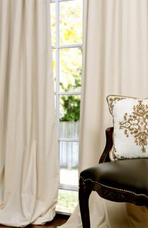 Ivory Pole Pocket Velvet Blackout Curtains Drapes