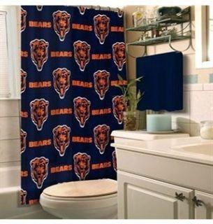 NFL Chicago Bears Shower Curtain Navy Blue Orange White New