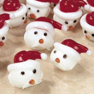 10 Glass Santa Baby Lampwork Beads Christmas Head