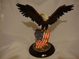 Eagle Figurine Wings High American Flag