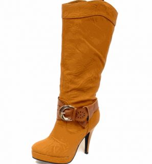 Ladies Womens Tan Buckle Belt Boots Dressy Heels Stiletto Sizes 6 5 7