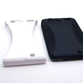 White Black Dual Flex Hard Case Gel Cover for Motorola Droid RAZR