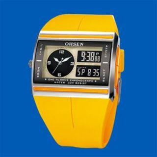 New Dual Time Zone Day Date Mens Lady Sport Wrist Watch