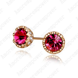 Plated Ear Pin Use Red Swarovski Crystal Gorgeous Studs Earring