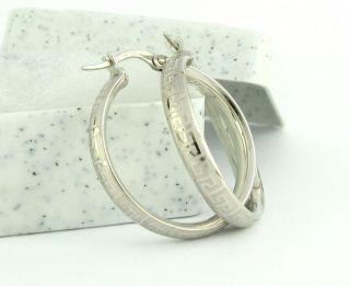 10K Solid White Gold Versace Greek Design Hoop Earrings