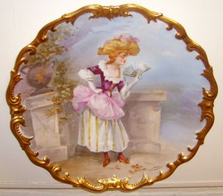 Limoges Antique Hand Painted Charger Signed Dubois