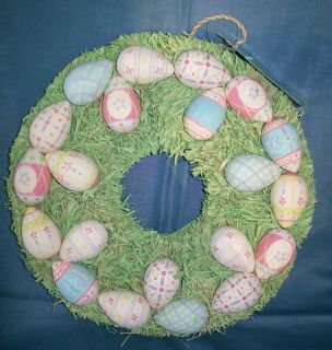 Vintage Easter Painted Egg Hanging Wreath Eggs Green Straw Bed Pastel