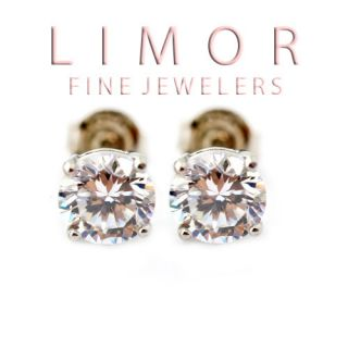 50 Carat 14k White Gold Silver Sapphire Round Shape Stud Earrings