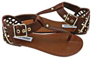 New Steve Madden Womens Sutttle Cognac T Strap Thong Sandals Shoes US