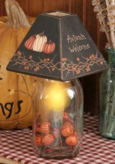 Primitive Fall Autumn Welcome Jar Light Lamp Pumpkins